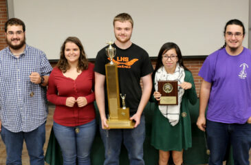 The Lamar High School A-Team won top honors and the traveling trophy. Team members (left to right) include Reece Campbell, Angela Medina, Zach Scriven, Shania Jo RunningRabbit, and Dwight Campbell.