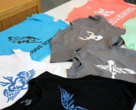 T-shirts with cut vinyl decals