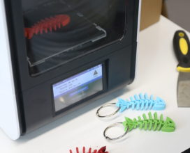 Makerbot and fish skeleton keychains