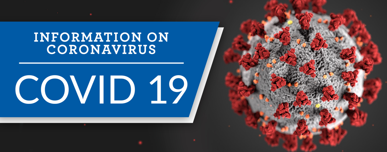 "Image of coronavirus under electron microscope with text banner reading ""Information on coronavirus COVID-19"""